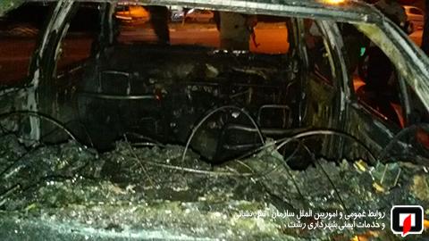 آتش سوزی خودرو رشت (1)