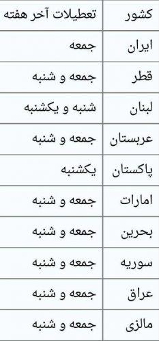 جدول تعطیلات رسمی