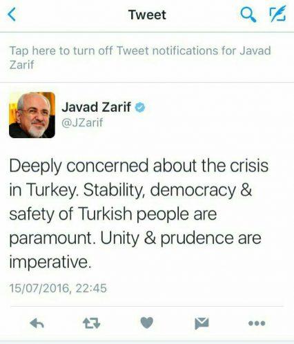 محمدجواد ظریف توییت ترکیه